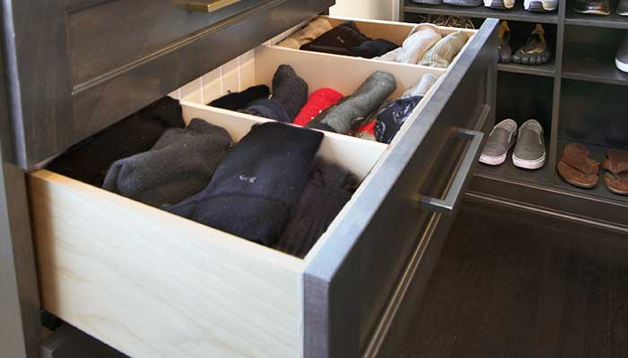 mens closet with closet drawer organizers for underwear