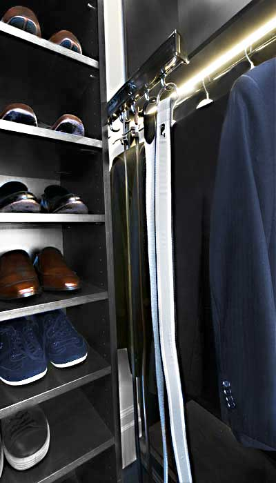 pull-out belt rack for closet organizes an average collection of men's belts