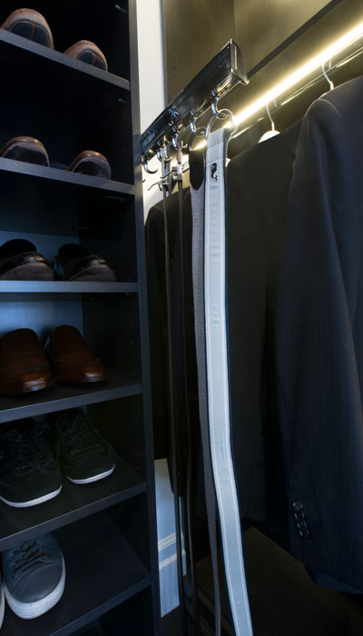 custom walk in closet belt organizer