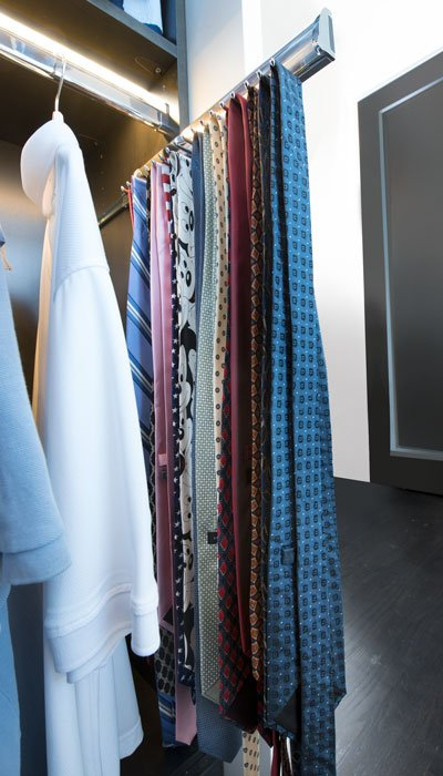 Ties Hung From Elite Pull Out Tie Rack