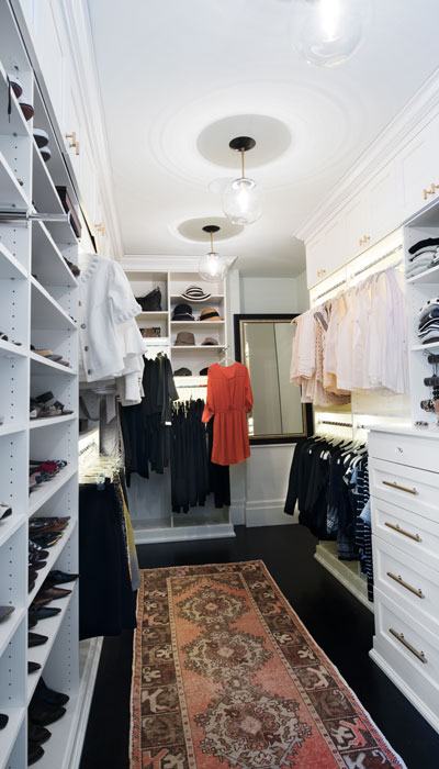 her side custom walk in closet designs with LED lighting