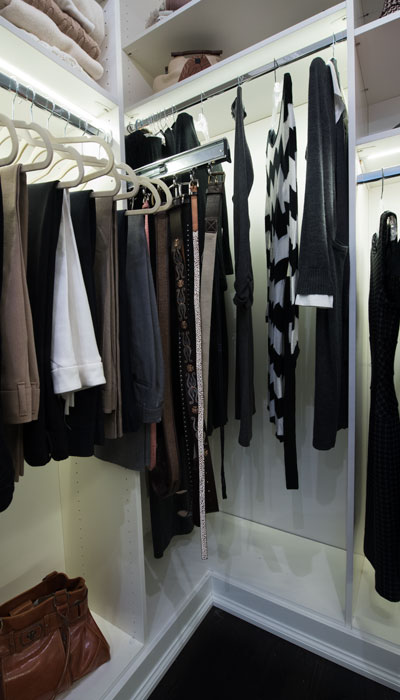 luxury walk in closet designs with custom hanging sections
