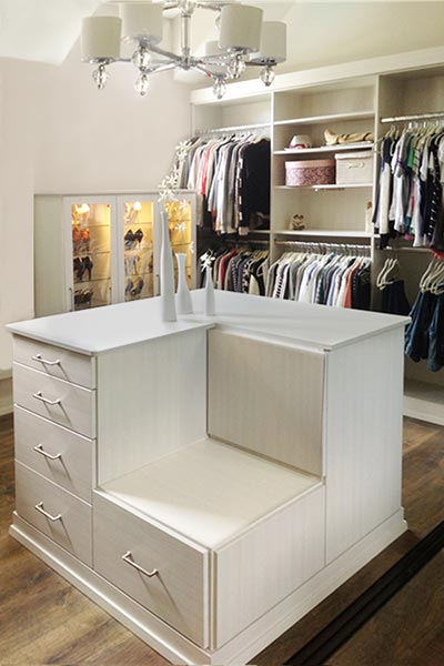 custom dressing room closet for a shoe lover
