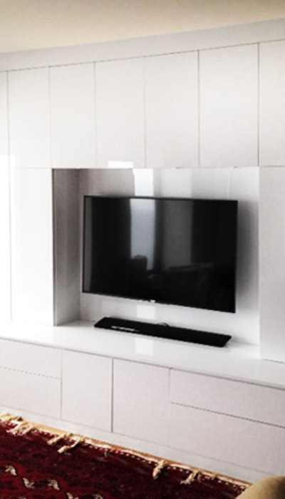 high gloss arctic wall unit