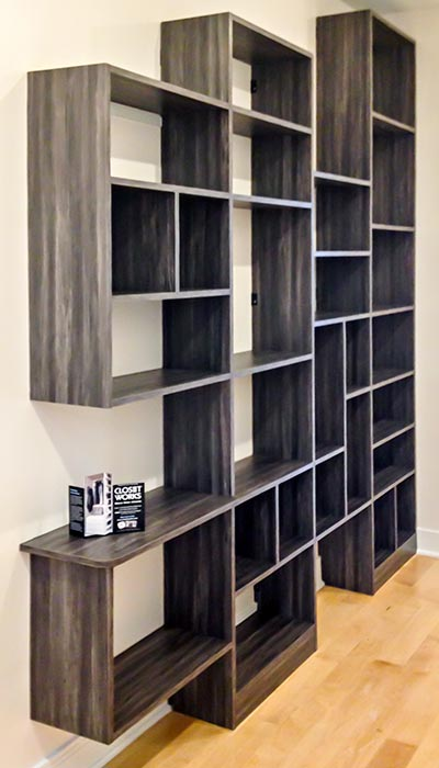 Wall unit shelving organization system in Merapi thermally fused laminate - TFL