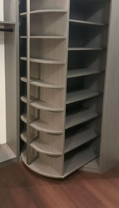 360 organizer rotating shoe rack in haze laminate