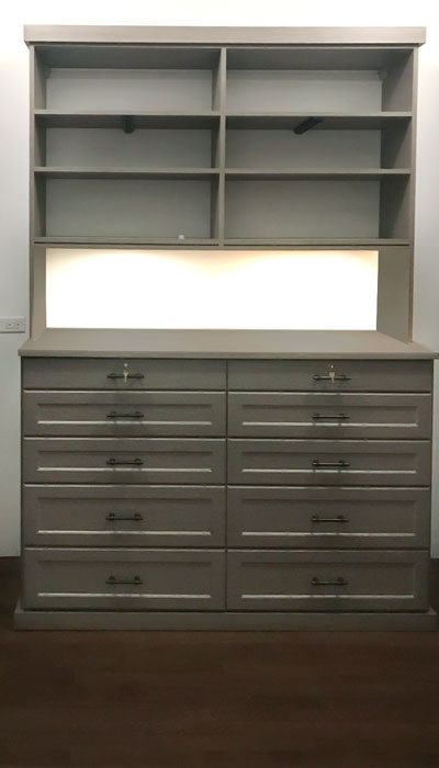 custom master walk in closet dresser with closet lights