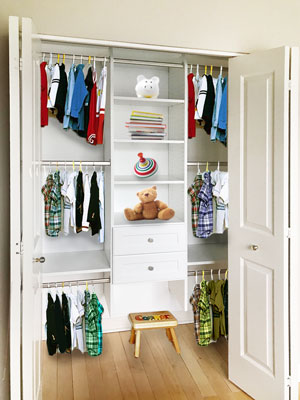 kids reach-in closet organization