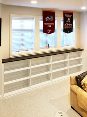 basement built in shelves
