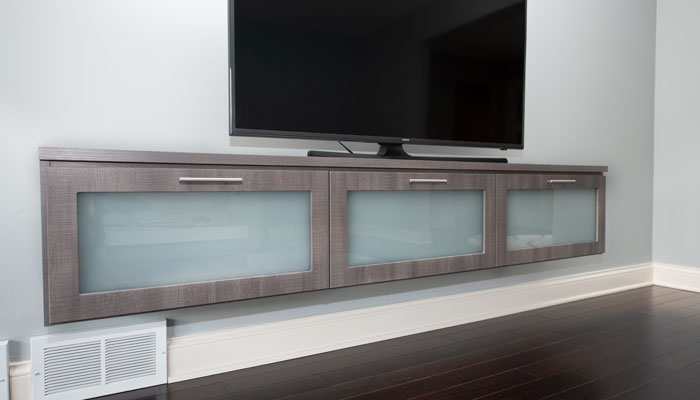 breakwater media center with frosted glass