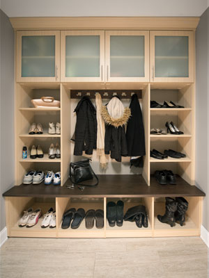 entryway remodel with mudroom organization system design
