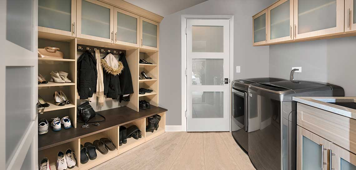 laundry room cabinets and modern mudroom for rear entryway remodel