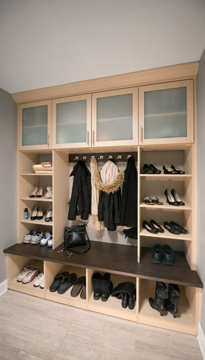 modern mudroom storage