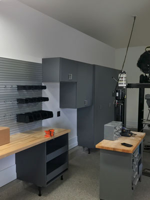 custom garage cabinetry and wall track