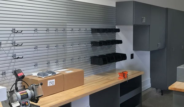 custom garage cabinet and wall track system