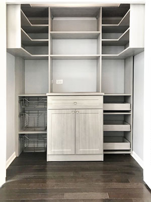 walk in pantry in river rock with corner pantry shelving