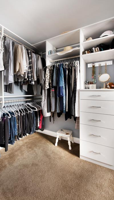 maximum hanging rod storage in dressing room closet