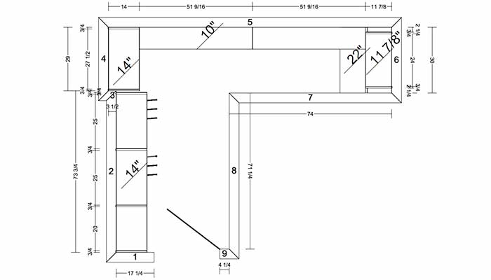 Diagram and plans for a narrrow L-shaped walk-in closet
