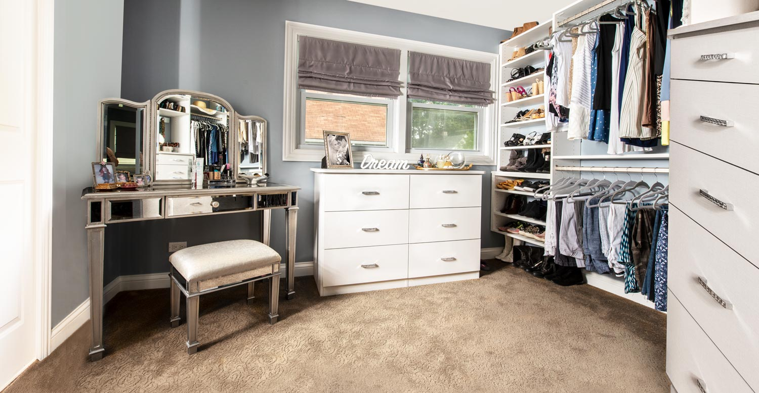 custom walk in closet dressing room becomes dream closet for her