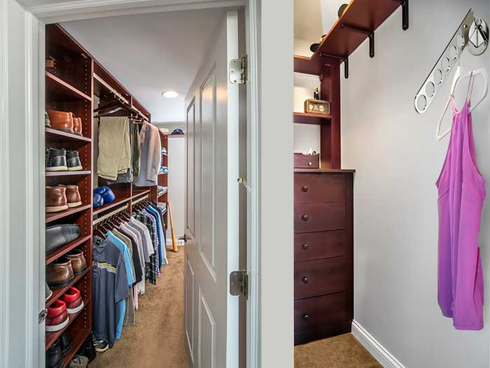 Maximizing storage in odd shaped closet spaces