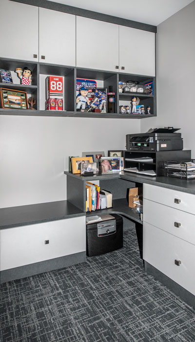 home office shelving and memorabilia storage
