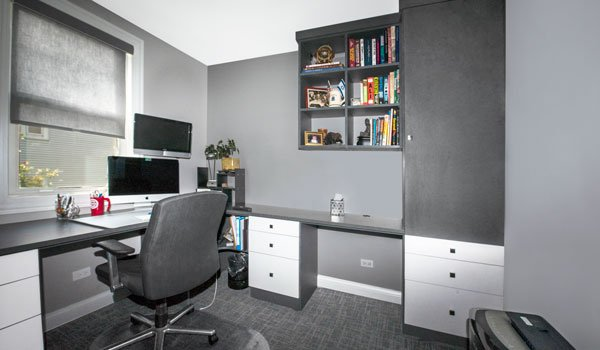 urban home office with double office desks and modern shelving