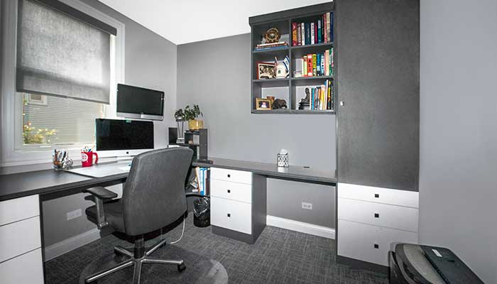 home office system in chino thermally fused laminate with desk and cabinet