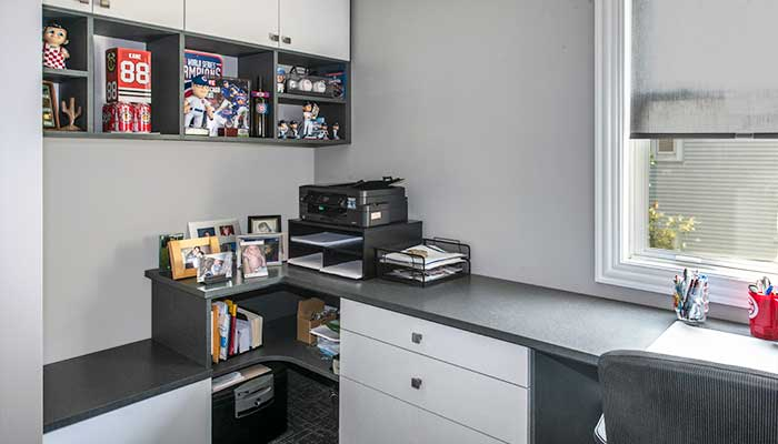 home office system in chino thermally fused laminate with white accents