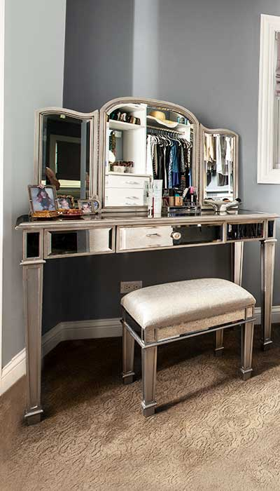 vanity with makeup storage