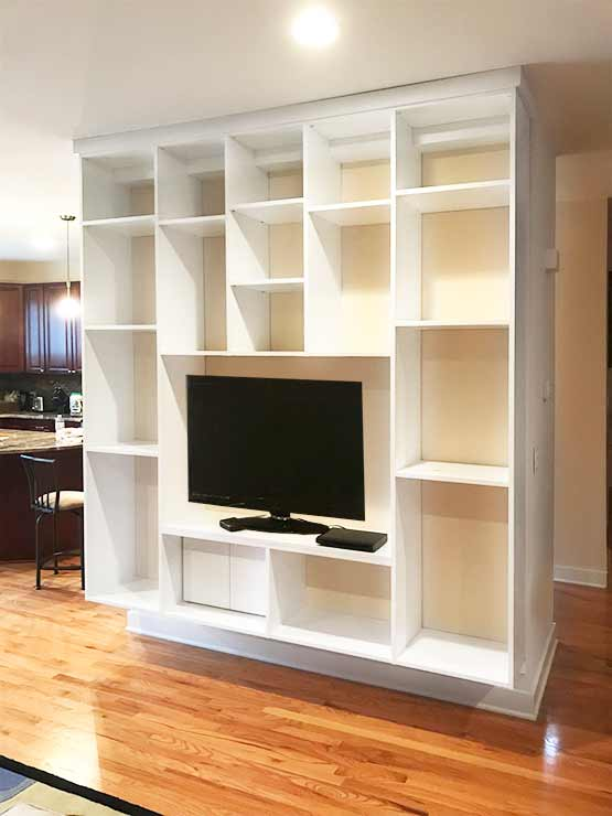modern wall unit with wire management doors