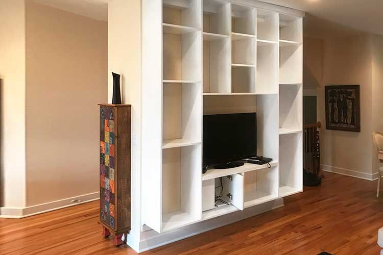 Bookcase design as room divider