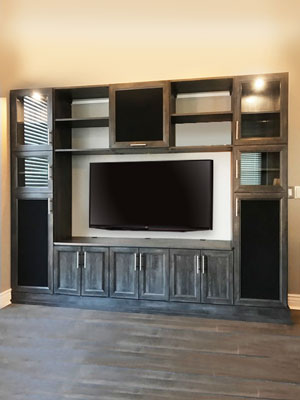vintage wall unit media center with speaker doors