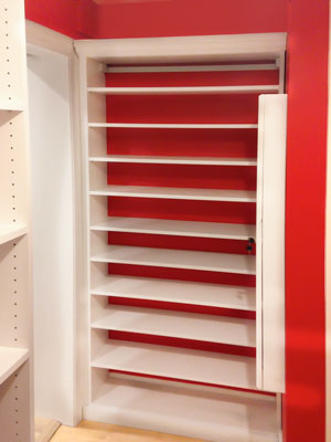 custom white laminate walk-in closet shoe shelveing unit for sloped ceiling