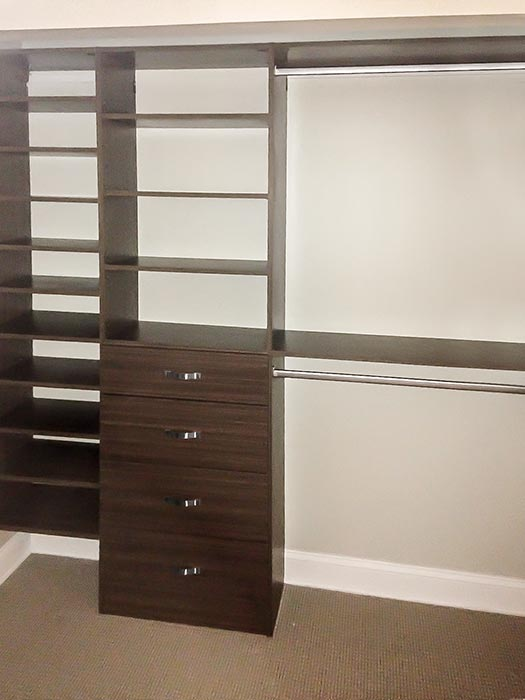 Walk-In closet system in Milk Chocolate thermally fused laminate - TFL