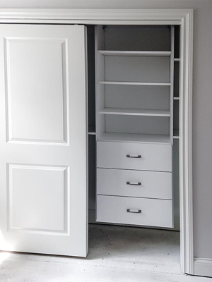 custom floating white laminate closet