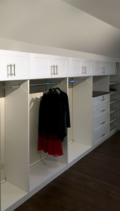 Hanging Closet Rod From Sloped Ceiling To Convert Bedroom
