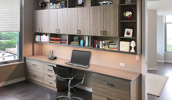 premium home office design with custom LED lights