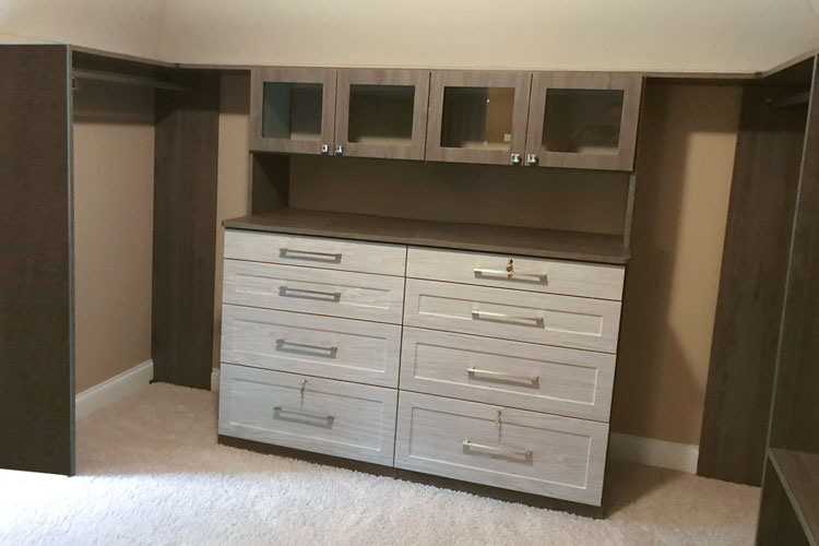 walk in closet for sloped ceiling room in blackwood TFL with weekend getaway drawers