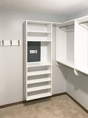 walk in closet with access to closet safe
