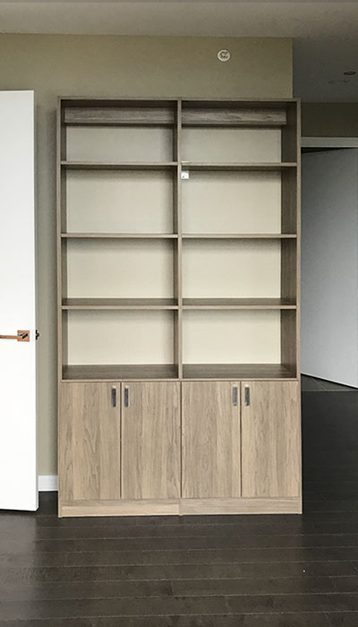 custom wall unit organization system in Apres Ski thermally fused laminate - TFL