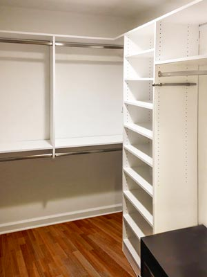 custom white laminate closet