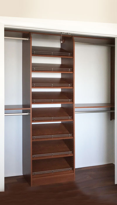 shoe shelves for shoe organization in reach-in (wall) closet