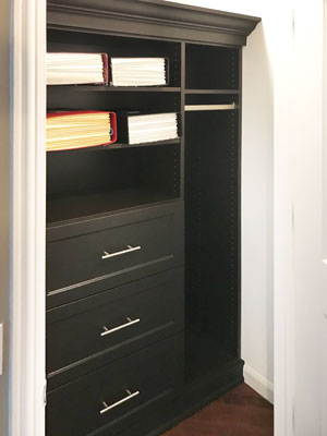 office reach in closet with file drawers