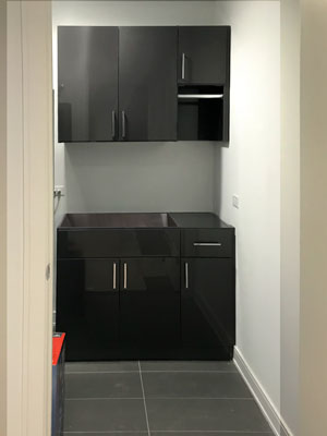 high gloss laundry room cabinets