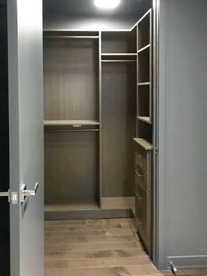 compact dark walk in closet