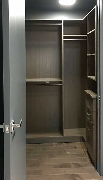 custom master closet in Spring Blossom thermally fused laminate - TFL