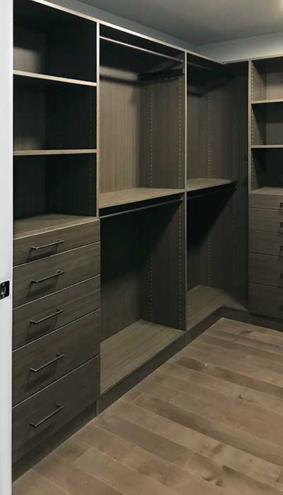 custom walk in closet system in Spring blossom thermally fused laminate - TFL