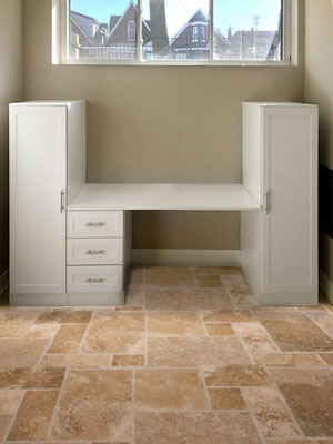 home office design with basement desk