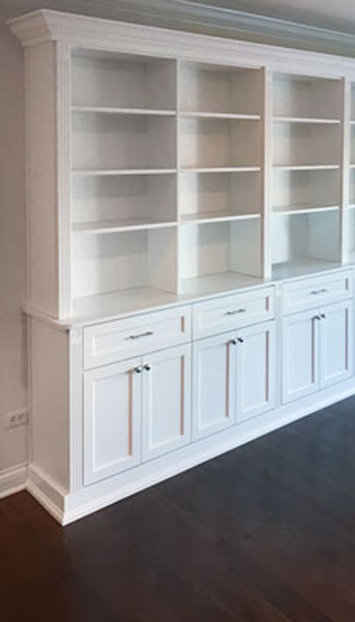 custom wall unit in lowland wood