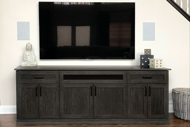 wall unit cabinetry built for home stereo system